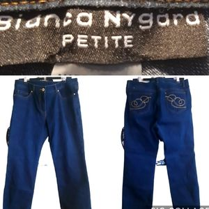 Bianca Nygard   petites   gold embroidered jeans